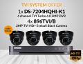 1X DS-7204HQHI-K1/1TB with 4X VT896TVI/B